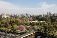 Sao Paulo skyline. Sao Paulo wealthy neighborhood and skyline Stock Photos