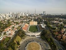 Sao Paulo, SP, Brazil, August, 2017. Aerial view of the Municipal Stadium of Pacaembu, called Paulo Machado de Carvalho. Royalty Free Stock Photography