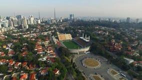 Sao Paulo, SP, Brazil, August, 2017. Aerial view of the Municipal Stadium of Pacaembu, called Paulo Machado de Carvalho. Sao Paulo, SP, Brazil, August, 2017 stock footage