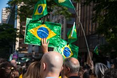Sao Paulo, SP, Brazil, 2018/10/21, Demonstration pro presidentia royalty free stock image