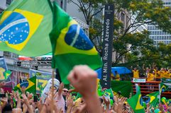 Sao Paulo, SP, Brazil, 2018/10/21, Demonstration pro presidential candidate Jair Bolsonaro on Paulista Avenue royalty free stock images