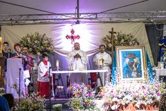 Feast of Our Lady Casaluce. Sao Paulo, SP, Brazil, May 28, 2017. Street Mass during the 117th Feast of Our Lady of Casaluce, in Caetano Pinto street, in the stock image