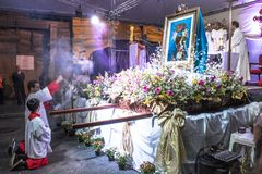 Feast of Our Lady Casaluce. Sao Paulo, SP, Brazil, May 28, 2017. Street Mass during the 117th Feast of Our Lady of Casaluce, in Caetano Pinto street, in the stock photo