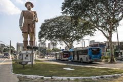 Statue of the Bandeirante Borba Gato in sao paolo, brazil stock images