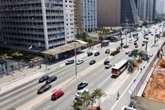 Sao Paulo stad - den Paulista avenyn - Brasilien Arkivbilder