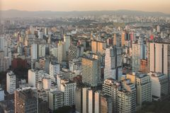 Sao Paulo sunset. Sun going down over the high rises in Sao Paulo, Brazil Royalty Free Stock Photo