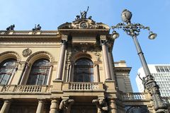 Sao Paulo theatre. Sao Paulo, Brazil. Municipal Theatre building. It features renaissance and baroque styles stock image