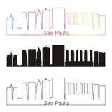 Sao Paulo V2 skyline linear style with rainbow. Sao Paulo skyline linear style with rainbow in editable vector file Stock Image