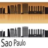 Sao Paulo V2 skyline. In orange background ineditable vector file Stock Photo