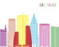Sao Paulo V2 skyline pop. In editable vector file Stock Photography