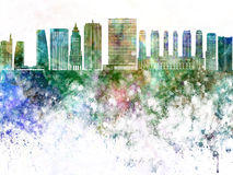 Sao Paulo V2 skyline in watercolor background Stock Photography