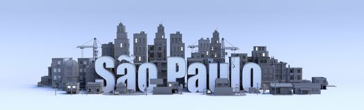 Sao paulo word, text name of the city in middle of buildings, 3d render. Sao paulo text, word name of the city in middle of buildings, 3d render Royalty Free Stock Image