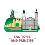 Sao Principe i woluminu kraj projektuje szablonu mieszkanie Obrazy Royalty Free