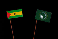 Sao Tome and Principe flag with African Union flag  on black. Background Stock Image
