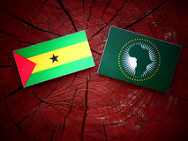 Sao Tome and Principe flag with African Union flag on a tree stu. Mp Stock Images