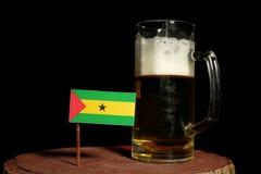 Sao Tome and Principe flag with beer mug  on black. Background Royalty Free Stock Photography