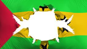 Sao Tome and Principe flag with a big hole. White background, 3d rendering stock illustration