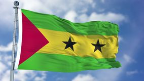 Sao Tome and Principe Flag in a Blue Sky. Use this clip loud and proud to express loyalty and love to our country. It is a seamless loop with luma channel Stock Photography