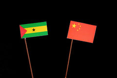 Sao Tome and Principe flag with Chinese flag  on black. Background Stock Image