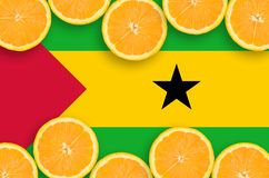 Sao Tome and Principe flag in citrus fruit slices horizontal frame stock photography