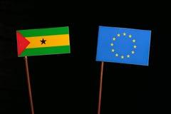 Sao Tome and Principe flag with European Union EU flag  on black. Background Royalty Free Stock Photos