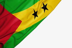 Sao Tome and Principe flag of fabric with copyspace for your text on white background. Africa banner best capital colorful competition country ensign free stock illustration