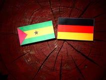 Sao Tome and Principe flag with German flag on a tree stump isol. Sao Tome and Principe flag with German flag on a tree stump Stock Photo