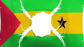 Sao Tome and Principe flag with a hole. White background, 3d rendering royalty free illustration