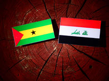 Sao Tome and Principe flag with Iraqi flag on a tree stump isola. Ted Royalty Free Stock Photo