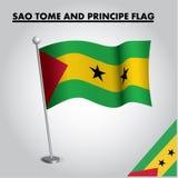 SAO TOME AND PRINCIPE flag National flag of SAO TOME AND PRINCIPE on a pole. Eps 10 vector illustration royalty free illustration