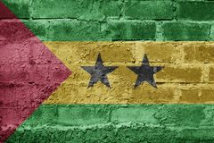 Sao Tome and Principe FLAG PAINTED ON BRICK WALL COOL. NICE Stock Photo