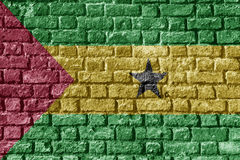 Sao Tome and Principe Flag Painted on brick wall nice. Sao Tome and Principe Flag Painted on brick wall Royalty Free Stock Photo