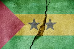 Sao Tome and Principe   FLAG PAINTED ON CRACKED WALL NICE. Sao Tome and Principe   FLAG PAINTED ON CRACKED WALL Royalty Free Stock Photo