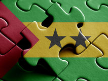 Sao Tome and Principe FLAG PAINTED ON PUZZLE nice. Sao Tome and Principe FLAG PAINTED ON PUZZLE Royalty Free Stock Photography