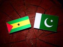 Sao Tome and Principe flag with Pakistan flag on a tree stump is. Olated Stock Photos