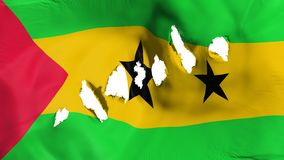 Sao Tome and Principe flag perforated, bullet holes. White background, 3d rendering vector illustration