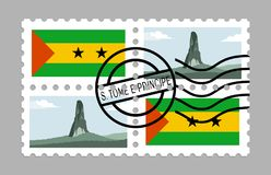 Sao tome and principe flag and pico cao grande on postages. Sao tome and principe flag and pico cao grande on postage stamps Royalty Free Stock Photo