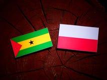 Sao Tome and Principe flag with Polish flag on a tree stump isol. Ated Royalty Free Stock Photos