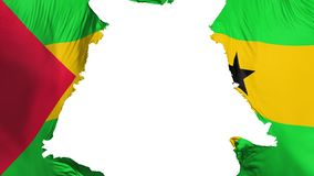 Sao Tome and Principe flag ripped apart. White background, 3d rendering stock illustration