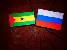 Sao Tome and Principe flag with Russian flag on a tree stump iso. Sao Tome and Principe flag with Russian flag on a tree stump Stock Image