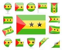 Sao Tome and Principe Flag Vector Set. Sao Tome and Principe Flag Set - Vector Illustration Stock Image