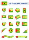 Sao Tome and Principe Flag Vector Set. Sao Tome and Principe Flag Set - Vector Illustration Stock Photos