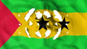 Sao Tome and Principe flag with a small holes. White background, 3d rendering stock illustration