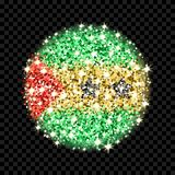 Sao Tome and Principe flag sparkling badge. Democratic Republic of Sao Tome and Principe flag sparkling badge. Round icon with Saotomean national colors with Stock Photography