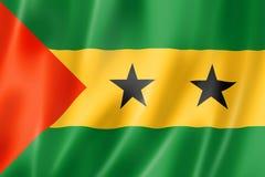 Sao Tome and Principe flag. Three dimensional render, satin texture stock illustration