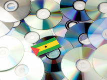 Sao Tome and Principe flag on top of CD and DVD pile isolated on Stock Photos