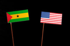 Sao Tome and Principe flag with USA flag isolated on black. Background Royalty Free Stock Photos