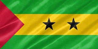 Sao Tome and Principe Flag. With waving on satin texture vector illustration