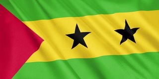 Sao Tome and Principe flag waving with the wind. Sao Tome and Principe flag waving with the wind, wide format, 3D illustration. 3D rendering Royalty Free Stock Images
