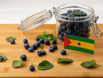Sao Tome and Principe flag on a wooden plank with blueberries is Royalty Free Stock Image